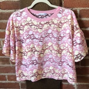 Pink lace Zara tee with floral design